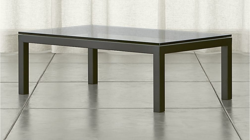 Impressive Fashionable Transparent Glass Coffee Tables Pertaining To Parsons Clear Glass Top Dark Steel Base 48×28 Small Rectangular (Image 21 of 50)