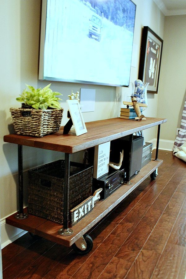 Impressive Fashionable TV Stands With Baskets Inside How To Build An Industrial Console Table Industrial And Screens (Image 29 of 50)