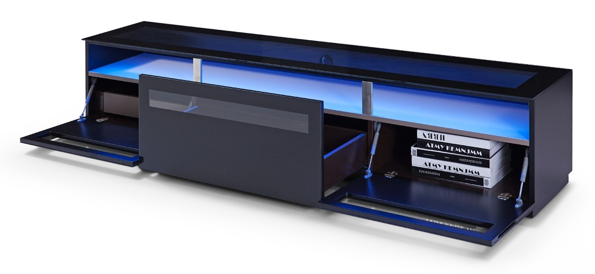 Impressive Fashionable TV Stands With LED Lights Pertaining To Brown Oak Blue Led Light And Glass Top Tv Stand Chicago Illinois (Image 27 of 50)