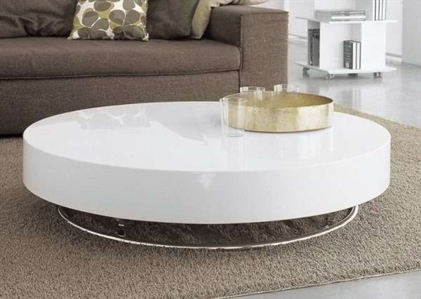 Impressive Fashionable White Circle Coffee Tables Within White Round Living Room Table Beautiful White Round Coffee Table (Image 24 of 50)