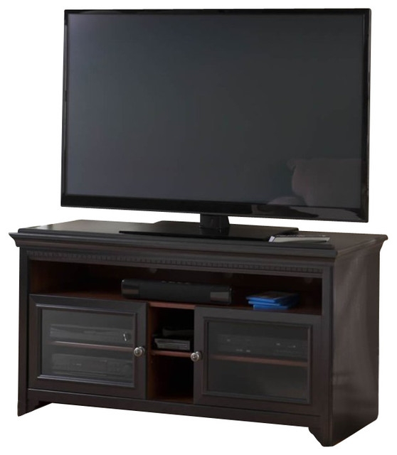 Impressive Fashionable White TV Stands For Flat Screens Pertaining To Bush Stanford Flat Panel Tv Stand In Antique Black Finish (Image 31 of 50)
