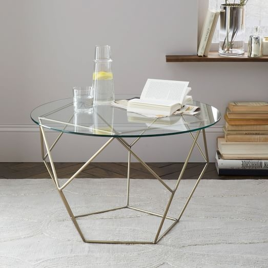Impressive Favorite Antique Brass Glass Coffee Tables For Origami Side Table Glassantique Brass West Elm (Image 24 of 50)
