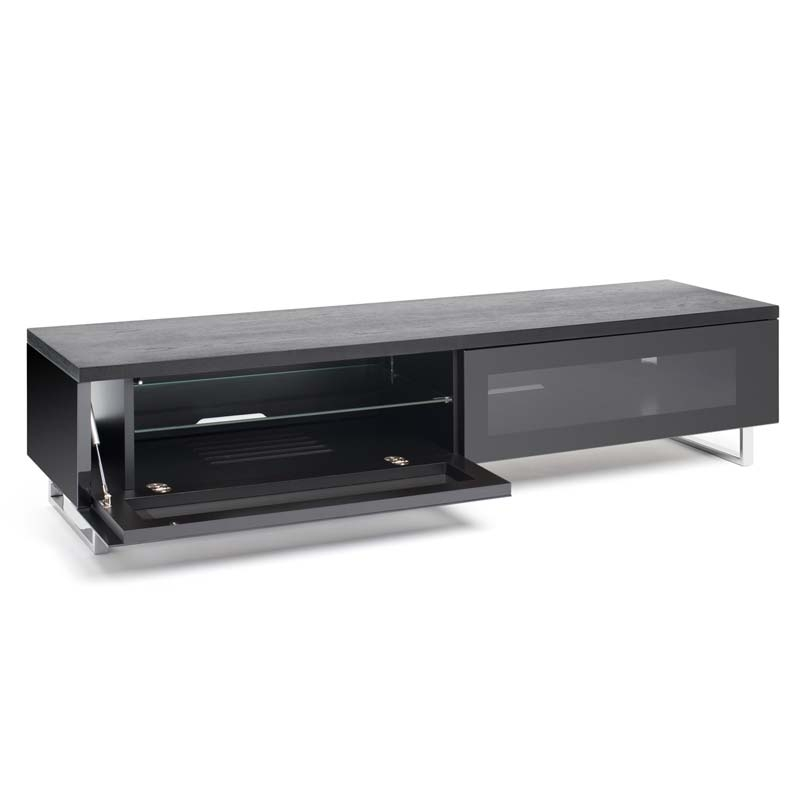 Impressive Favorite Black TV Cabinets With Drawers In Techlink Panorama Series Low 65 Tv Stand With Drop Down Door And (Image 29 of 50)
