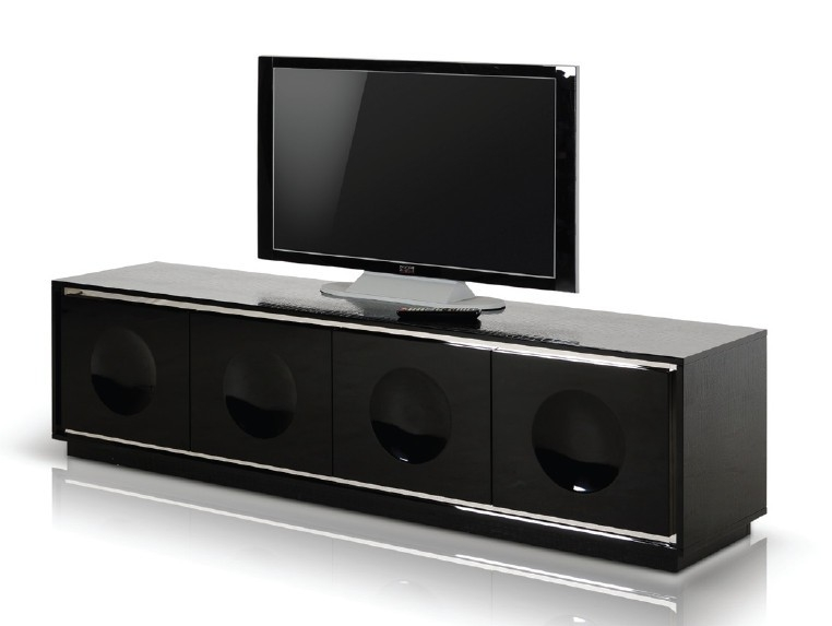 Impressive Favorite Black TV Stands Intended For Grand Modern Black Crocodile Lacquer Tv Stand (Image 19 of 50)
