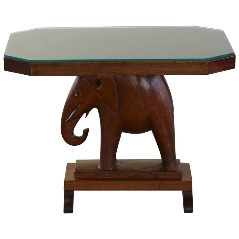 Impressive Favorite Elephant Coffee Tables Inside Rare Mahogany Table With Carved Elephant Base With Roosevelt (Image 33 of 50)