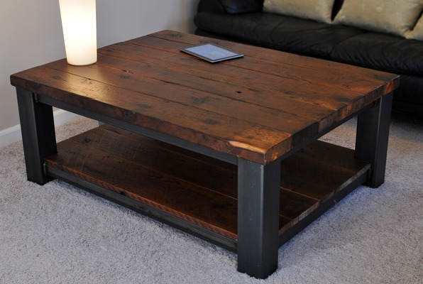 Impressive Favorite Extra Large Rustic Coffee Tables Intended For Coffee Table Extra Large Modern Square Dark Elm Brown Wood 12mt (View 11 of 50)