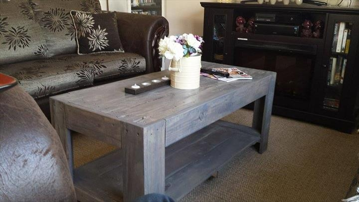 Impressive Favorite Gray Wood Coffee Tables Throughout Diy Wood Pallet Coffee Table (Image 24 of 50)
