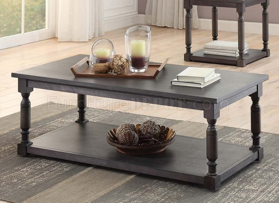 Impressive Favorite Grey Coffee Table Sets Inside 3560 31 Coffee Table 3pc Set Dark Grey Homelegance (Image 32 of 50)