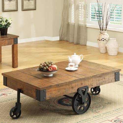 Impressive Favorite Low Industrial Coffee Tables Within Industrial Rustic Coffee Table With Wheels Design Ideas And Decor (Image 21 of 40)