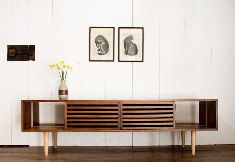 Impressive Favorite Modern Walnut TV Stands Intended For Bucks Media Console Modern Solid Walnut And Maple Tv (Image 30 of 50)