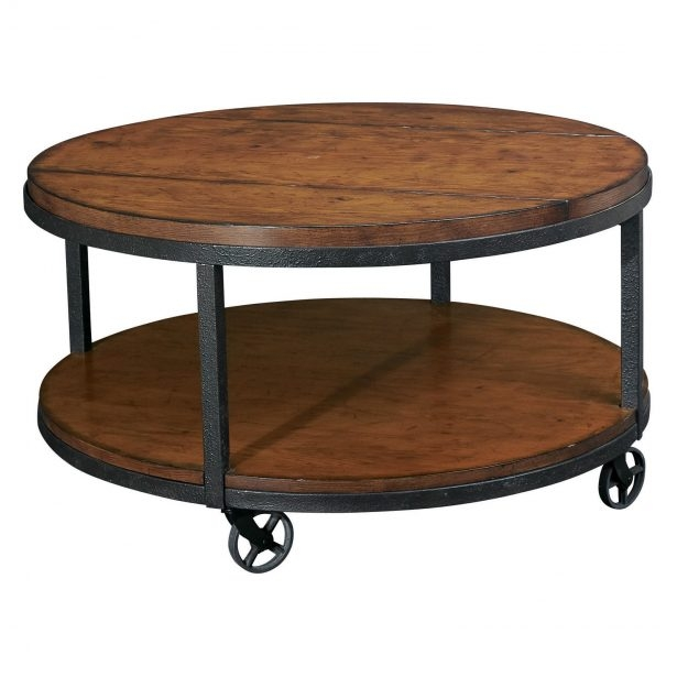 Impressive Favorite Rustic Coffee Tables With Bottom Shelf With Regard To Enchanting Round Brown Oak Wood Iron Industrial Coffee Table (Image 30 of 50)