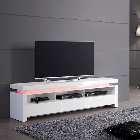 Impressive Favorite White Gloss TV Stands With Drawers Regarding Tivoli Lcd Tv Stand In White Gloss With 3 Drawers And Led (Image 21 of 50)