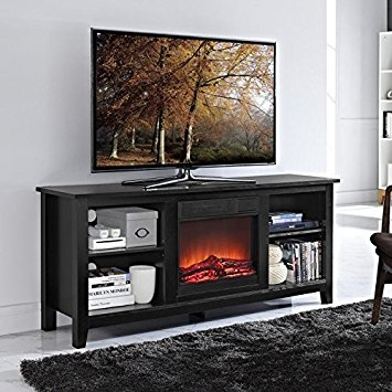 Impressive High Quality Black TV Stands Within Amazon Walker Edison W58fp18bl Fireplace Tv Stand Black (Image 20 of 50)