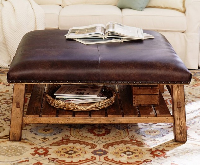Impressive High Quality Brown Leather Ottoman Coffee Tables With Storages In Living Room The Chic Round Ottoman Coffee Table Storage Brown Faux (Image 17 of 40)