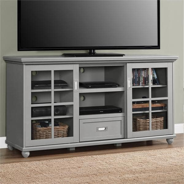 Impressive High Quality Corner TV Stands For 55 Inch TV In Altra Aaron Lane Grey 55 Inch Tv Stand Free Shipping Today (View 37 of 50)