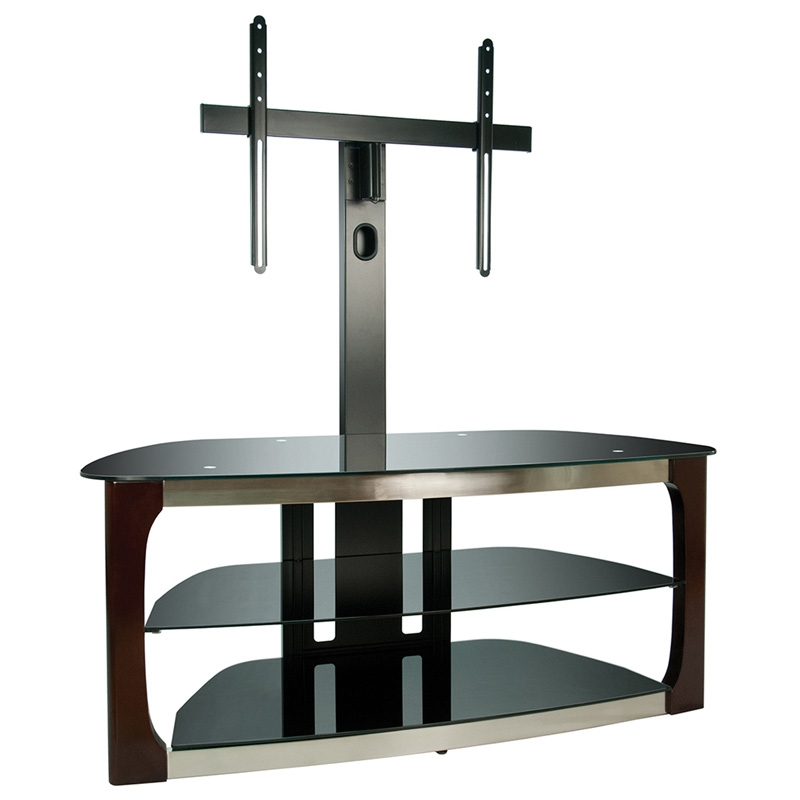 Impressive High Quality Corner TV Stands For 60 Inch TV With Regard To Bello 52 3 Shelf Tv Stand Dark Espresso With Brushed Nickel (Image 30 of 50)