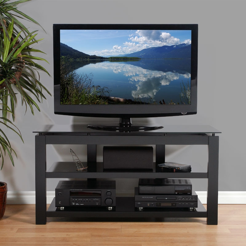 Impressive High Quality Floating Glass TV Stands For Plateau Sl Series Floating Glass And Wood Tv Stand For 32  (Image 24 of 50)