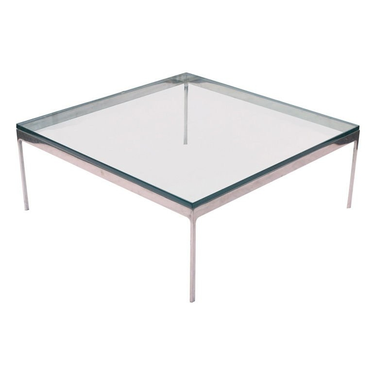 Impressive High Quality Glass Steel Coffee Tables Regarding Zographos Square Stainless Steel Coffee Table For Sale At 1stdibs (Image 27 of 50)