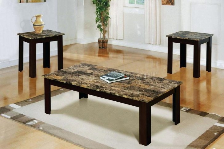 Impressive Latest 2 Piece Coffee Table Sets Regarding Coffee Table Furniture Of America Leslie 2 Piece Genuine Marble (View 31 of 50)