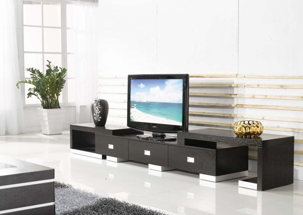 Impressive Latest Black And Red TV Stands Inside Living Room Fancy Living Room Interior Design With Modern Tv (Image 24 of 50)