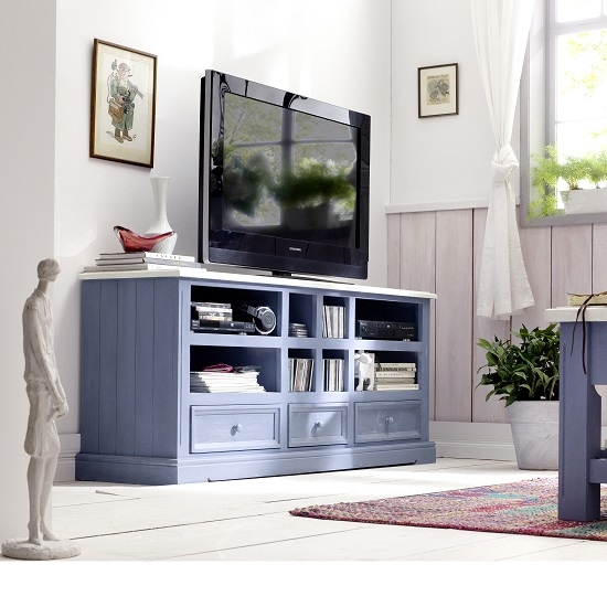 Impressive Latest Blue TV Stands With Falcon Tv Stand In Pine Wood In Blue And White (View 3 of 50)