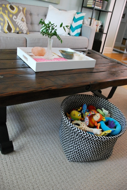 Impressive Latest Coffee Tables With Basket Storage Underneath Regarding Calming The Chaos Kind Of Storage Solutions For Ba Gear The (Image 24 of 50)