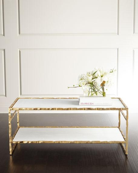 Impressive Latest Gold Bamboo Coffee Tables Regarding White Marble Bamboo Motif Gold Coffee Table (View 44 of 50)