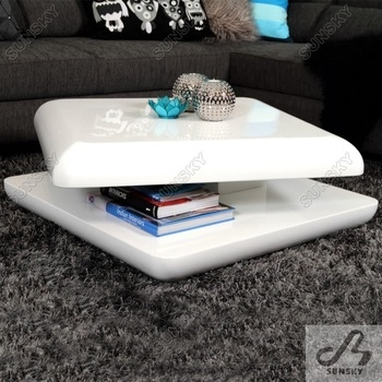 Impressive Latest High Quality Coffee Tables For Living Room Furniture Modern White High Gloss Rotating Coffee (View 12 of 50)