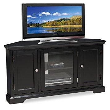 Impressive Latest Large Corner TV Stands Throughout Amazon Leick Black Hardwood Corner Tv Stand 46 Inch Kitchen (View 31 of 50)