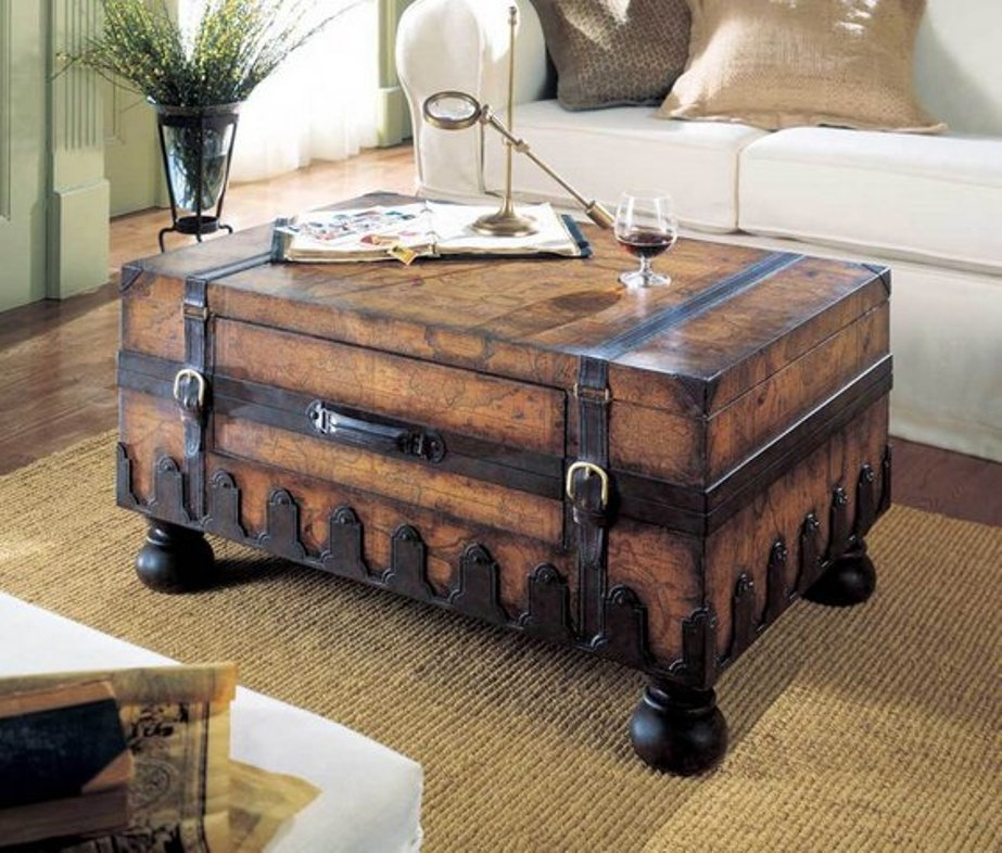 Impressive Latest Large Rustic Coffee Tables Throughout Wonderful Rustic Trunk Coffee Table New Lighting New Lighting (View 33 of 50)