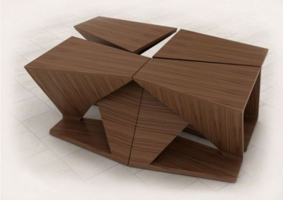 Impressive Latest Puzzle Coffee Tables Intended For Ergonomic Coffee Table With Four Separate Parts Digsdigs (Image 25 of 40)