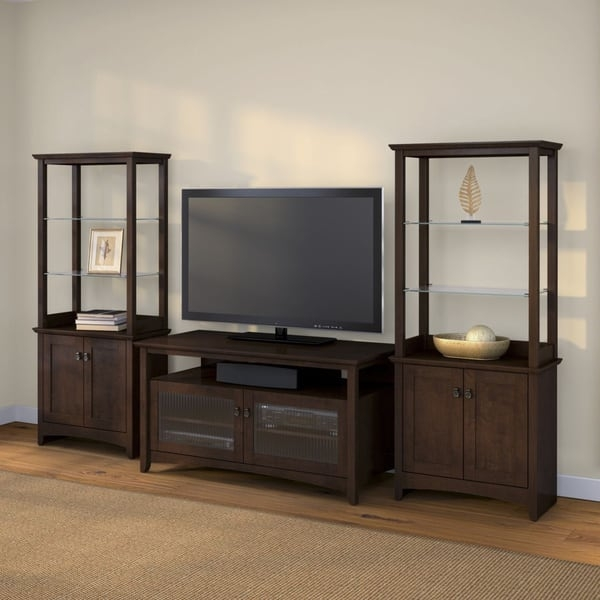 Impressive Latest Storage TV Stands In Buena Vista Madison Cherry Tv Stand With 2 Tall Library Storage (Image 28 of 50)