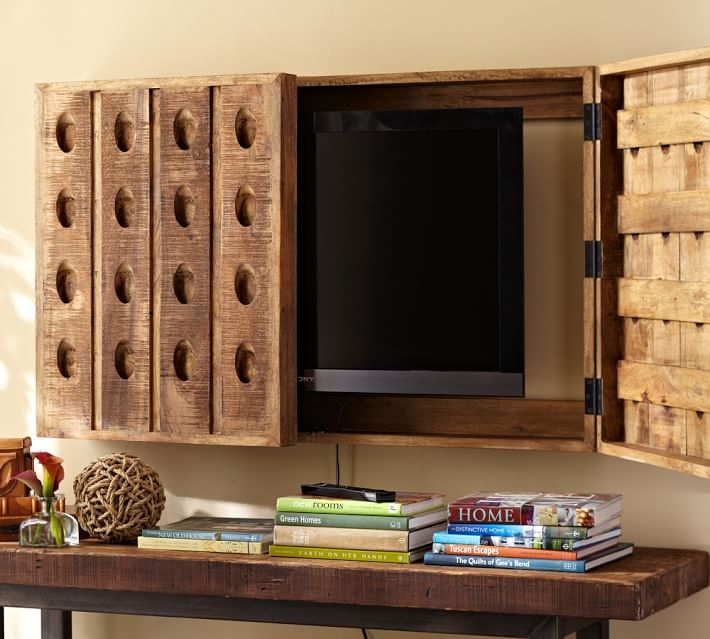 Impressive Latest Telly TV Stands Regarding Riddling Rack Tv Cover Pottery Barn (View 42 of 50)