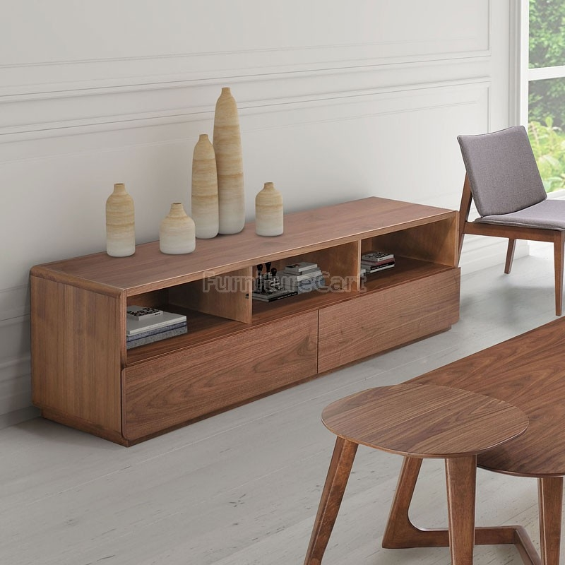 Impressive Latest Walnut TV Stands Within Park West Tv Stand Walnut Zuo Modern Furniture Cart (View 11 of 50)