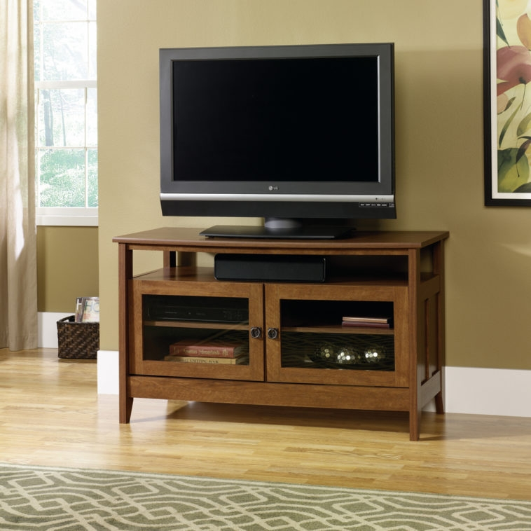Impressive Latest Wooden TV Cabinets With Glass Doors For Furniture Brown Wooden Tv Stands With Mounts And Storage Having (Image 34 of 50)