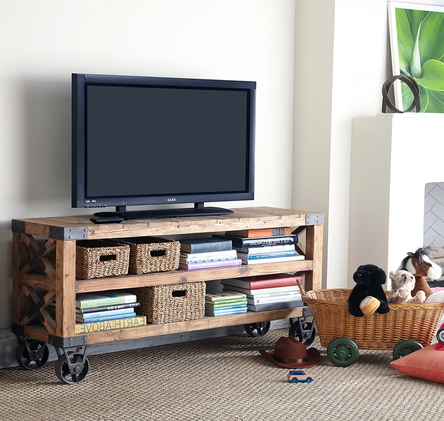 Impressive Latest Wooden TV Stands With Wheels For 35 Supurb Reclaimed Wood Tv Stands Media Consoles (Image 31 of 50)