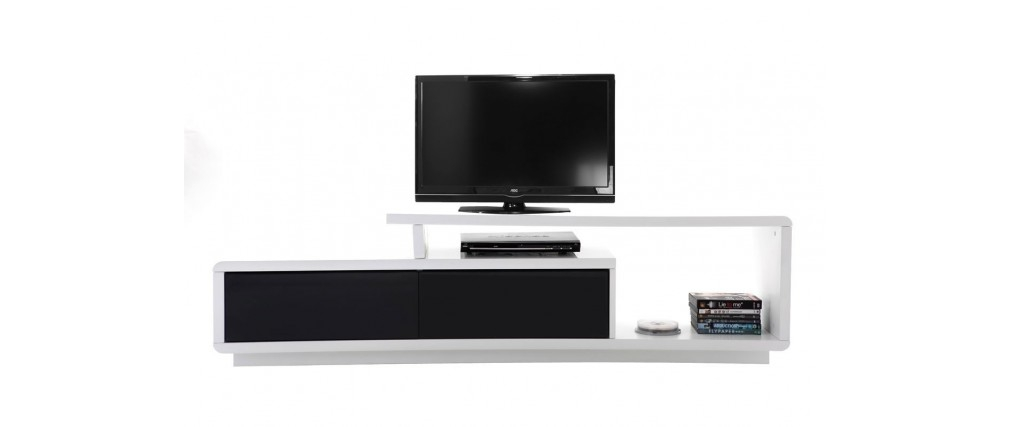 Impressive New Black Modern TV Stands With Regard To Glossy Black And White Modern Tv Stand Davy Miliboo (Image 21 of 50)