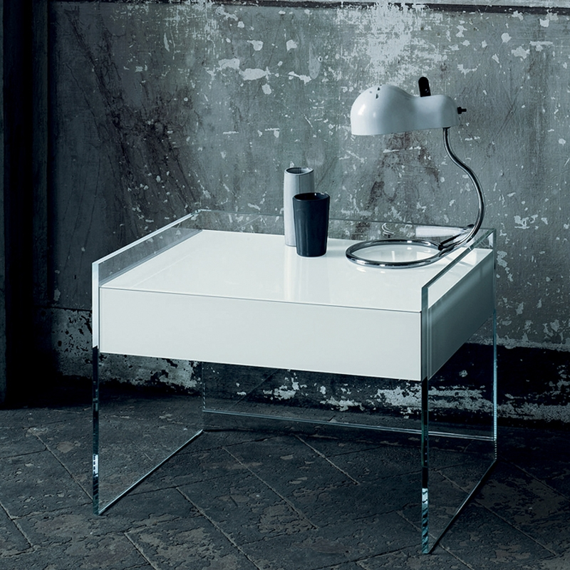 Impressive New Floating Glass Coffee Tables Intended For Float Glass Night Stand Glas Italia Switch Modern (Image 26 of 50)