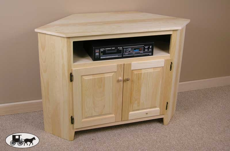 Impressive New Large Corner TV Stands Within Corner Tv Stand The Wood Carte Real Wood Furniture Amish (View 24 of 50)