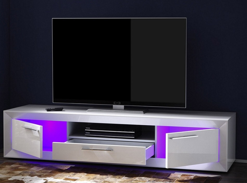 Impressive New TV Stands With LED Lights Regarding Modern Italian Tv Stand Salina Small Lc Mobili (Image 28 of 50)