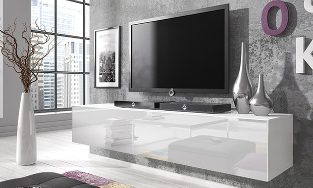 Impressive New White Gloss TV Cabinets Throughout Floating Gloss Tv Cabinet Groupon Goods (Image 28 of 50)