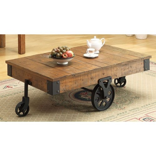 Impressive Popular Coffee Tables With Wheels With 5 Best Factory Cart Coffee Tables With Wheel Legs Tool Box (View 40 of 40)