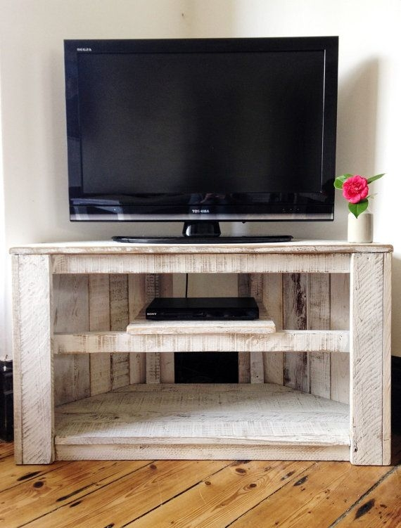 Impressive Popular Flat Screen TV Stands Corner Units For Handmade Rustic Corner Tabletv Stand With Shelf Reclaimed And (Image 31 of 50)