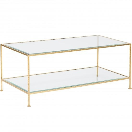 Impressive Popular Glass Gold Coffee Tables Intended For Elba Rectangular Glass Gold Leaf Coffee Table (View 6 of 50)