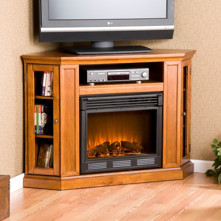 Impressive Popular Light Oak Corner TV Stands Intended For Furniture Dark Painted Pine Wood Corner Media Stand With Electric (Image 23 of 50)