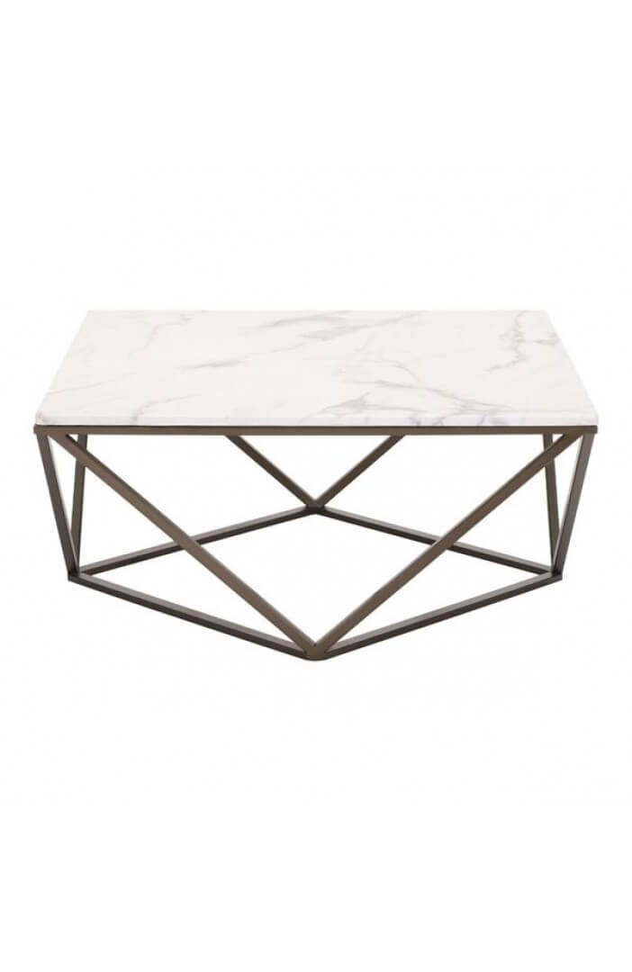 Impressive Popular Marble And Metal Coffee Tables Inside Marble Brass Coffee Table Modern Furniture Brickell Collection (Image 26 of 40)