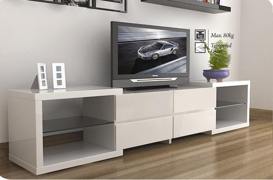 Impressive Popular Modern White TV Stands Inside Modern Tv Stands Enchanced The Modern Living Room Inoutinterior (Image 29 of 50)