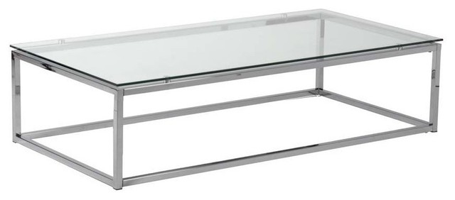 Impressive Popular Rectangle Glass Chrome Coffee Tables Throughout Elegant Glass Rectangle Coffee Table (Image 30 of 50)