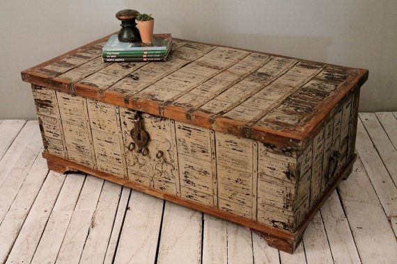 Impressive Popular Storage Trunk Coffee Tables Pertaining To Reclaimed Salvaged Antique Indian Wood Iron And Brass Wedding (Image 30 of 50)