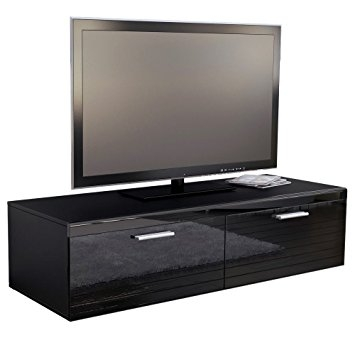 Impressive Popular TV Stands 100cm Wide Within Tv Stand Unit Atlanta In Black Matt Black High Gloss Amazonco (View 29 of 50)